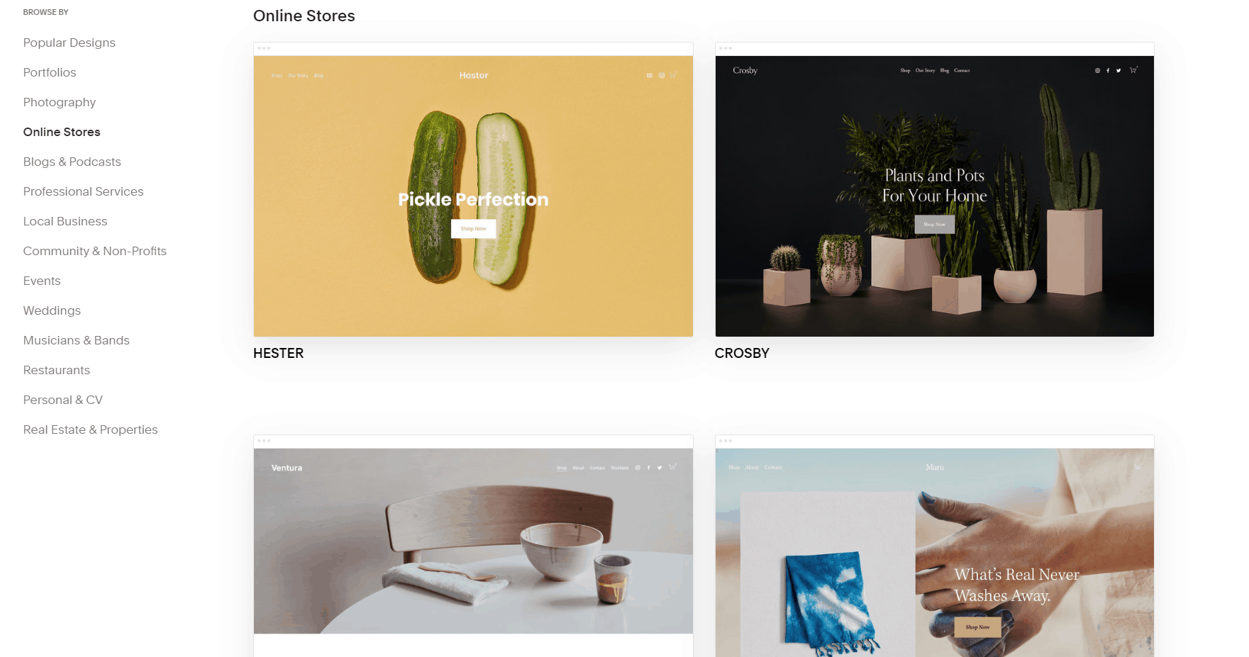 Squarespace online store templates