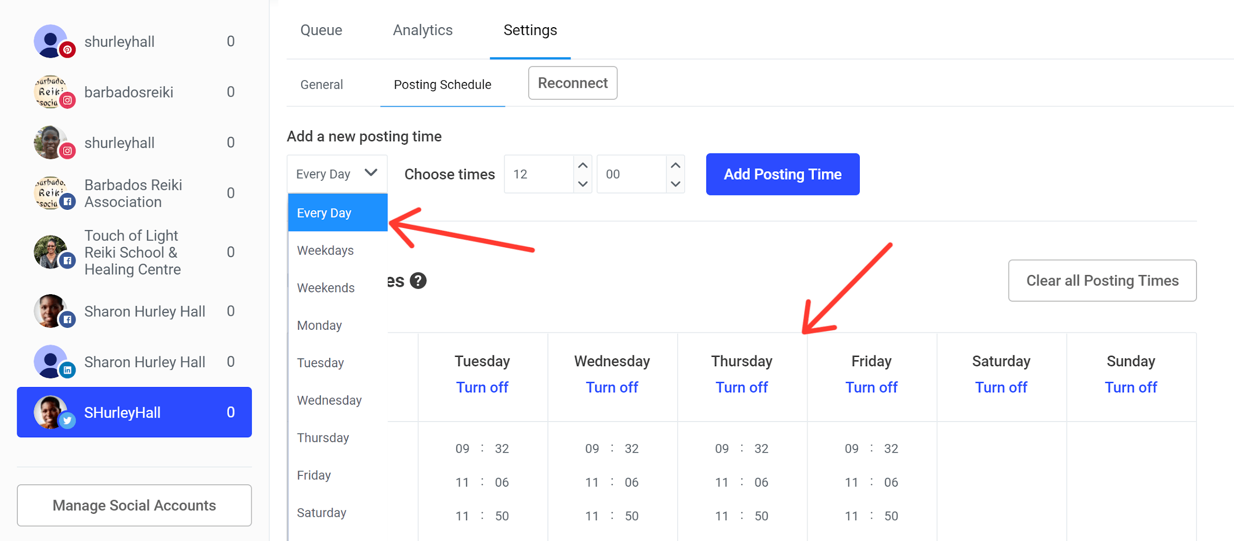 Buffer screenshot - Posting schedule