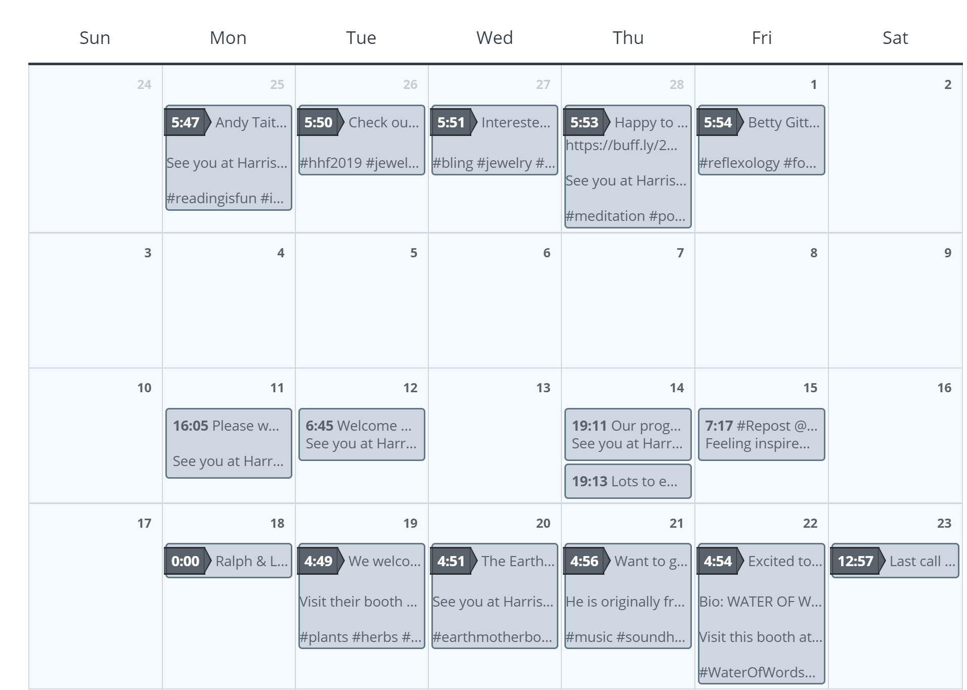Buffer screenshot - Calendar view