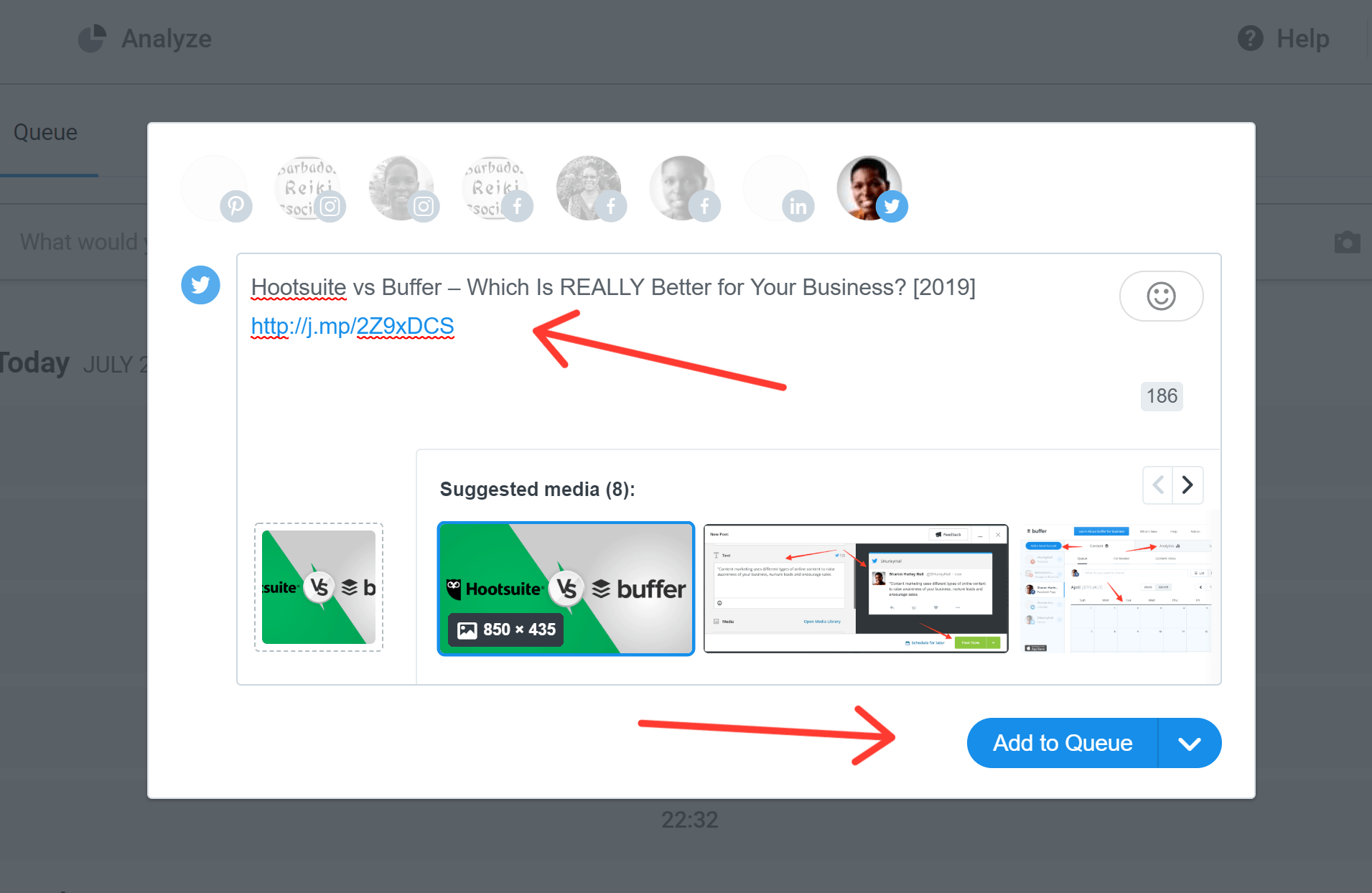 Buffer screenshot - Queue feature