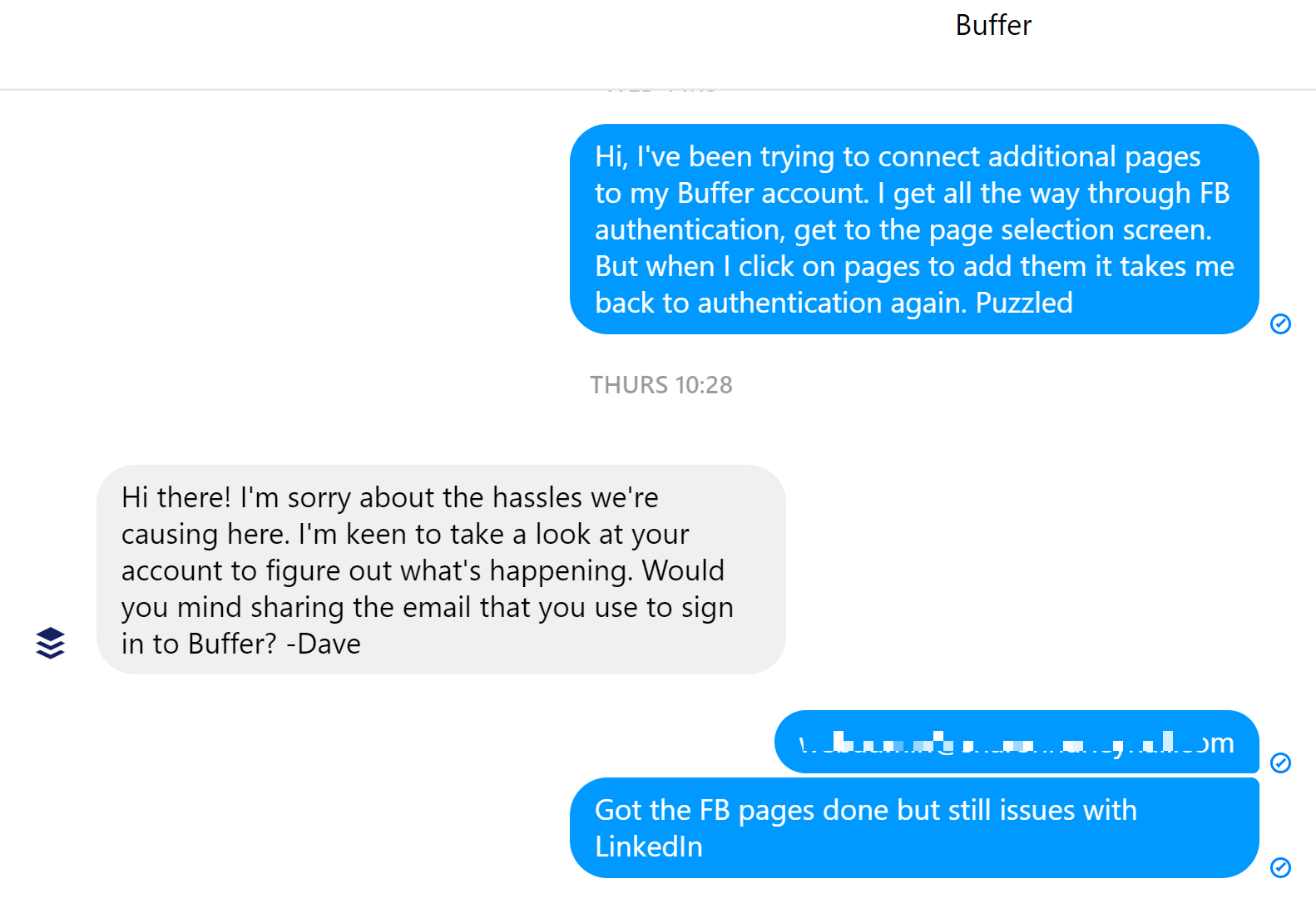 Buffer Facebook support - screenshot