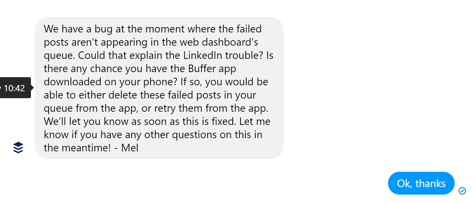 Buffer Facebook support - screenshot of reply