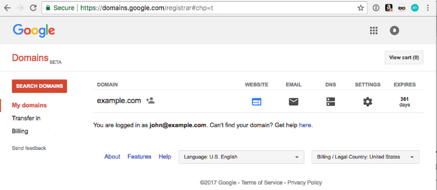 Google Domains Control Panel