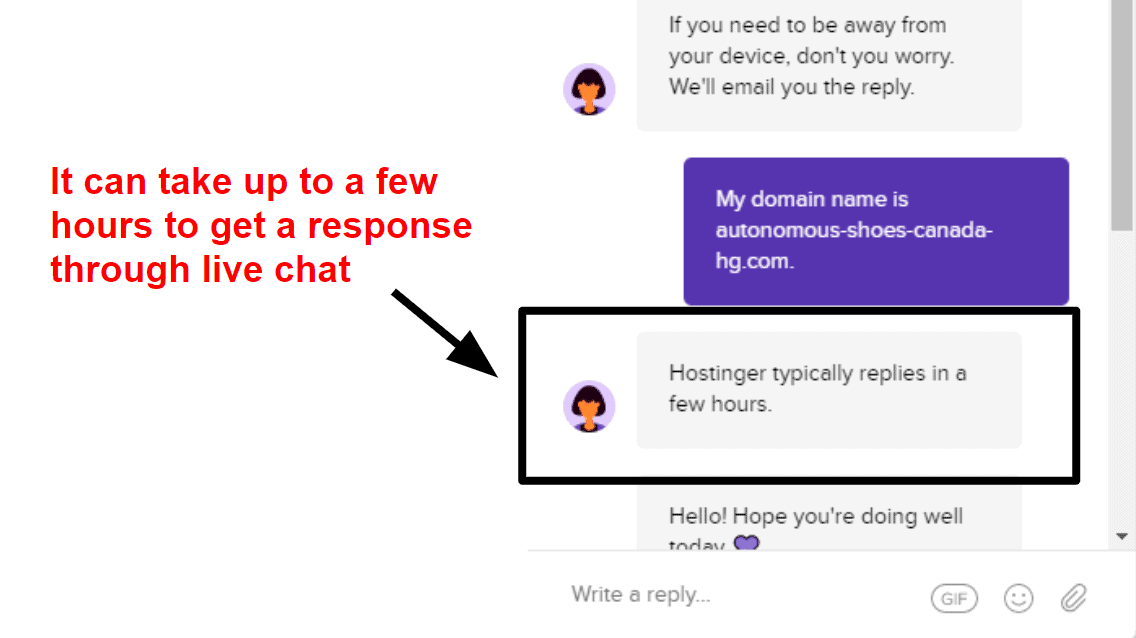 Hostinger live chat support