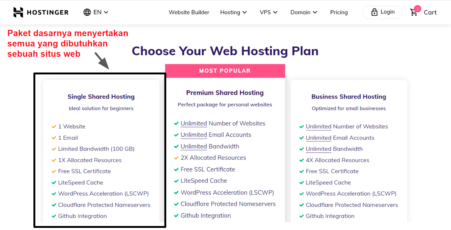 hosting plan features_ID