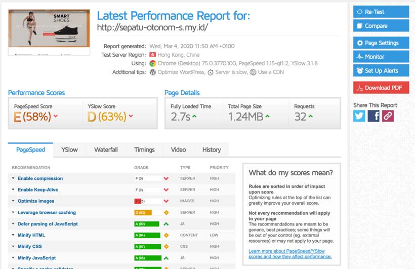Hasil cek kecepatan hosting exabytes