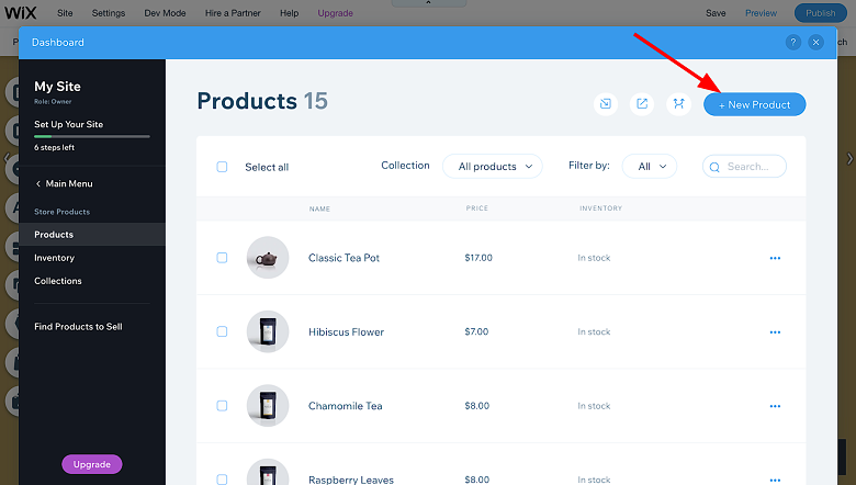 Wix - New Product