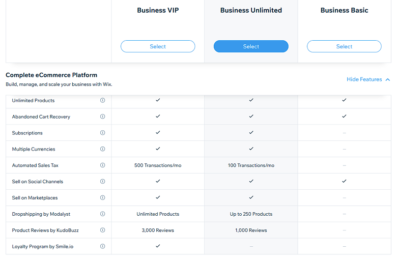 Wix - Business and eCommerce Plans