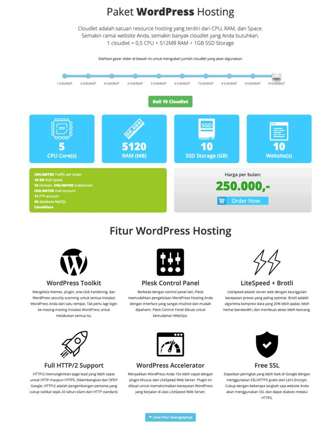 harga hosting wordpress rumahweb)