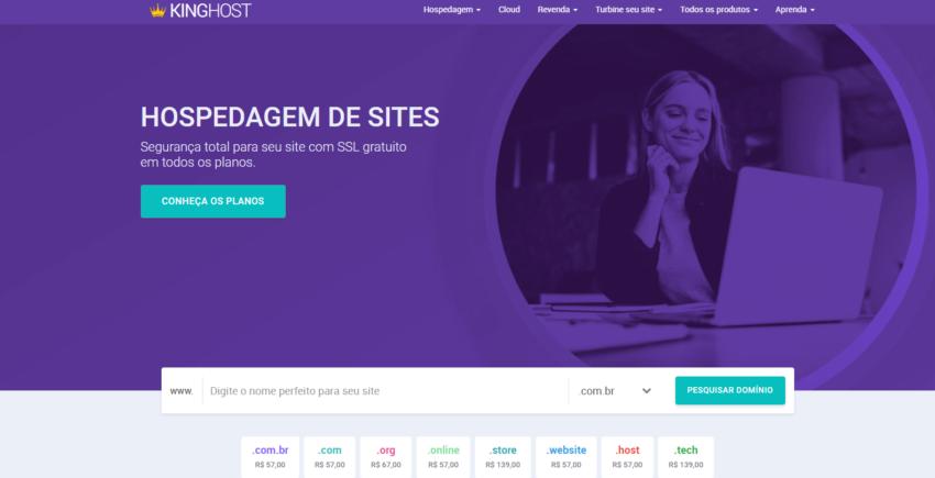 KingHost página inicial preço