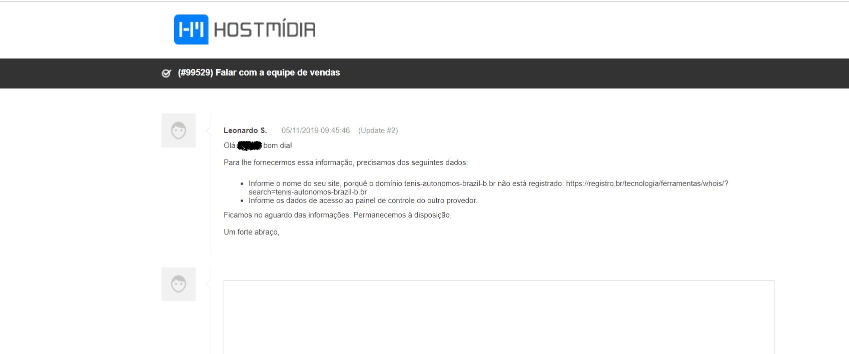atendimento ao cliente chamado Hostmídia