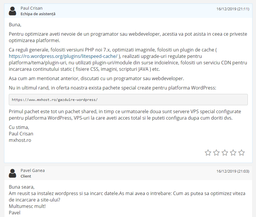 Test asistență Mxhost
