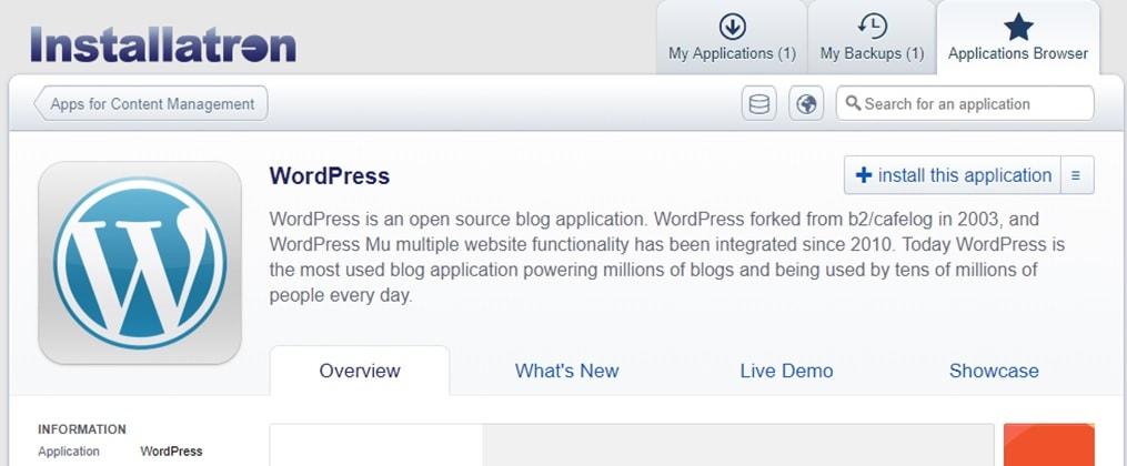 Installatron WordPress installasjon