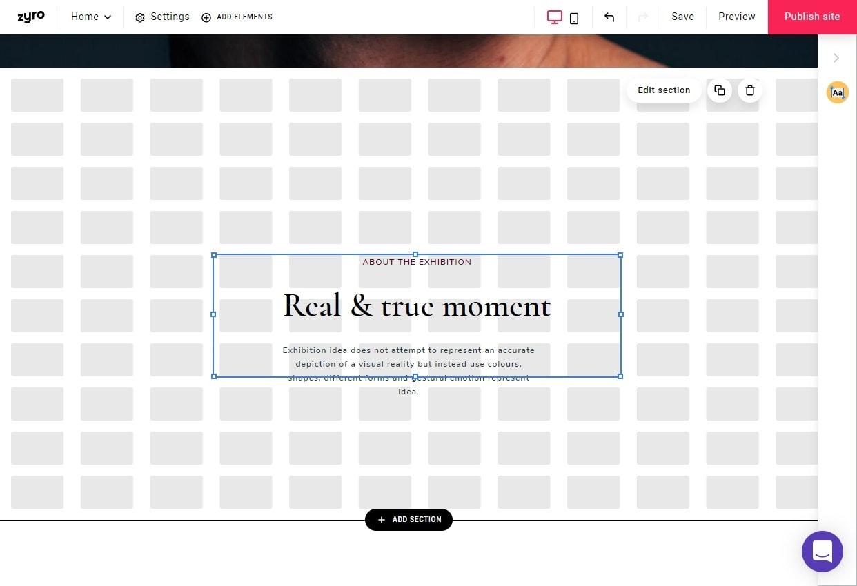 Zyro website builder - editing layout