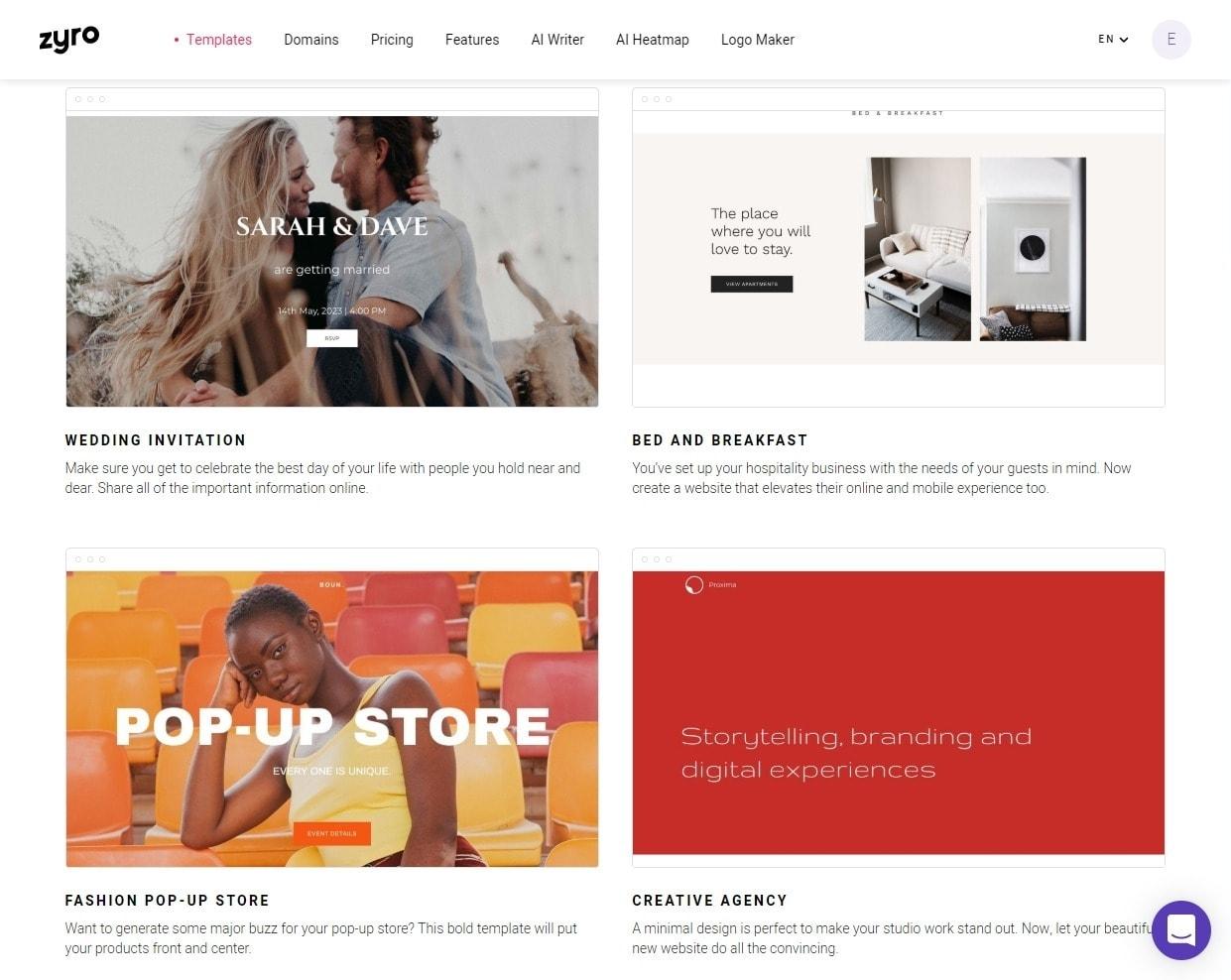 Zyro website builder templates