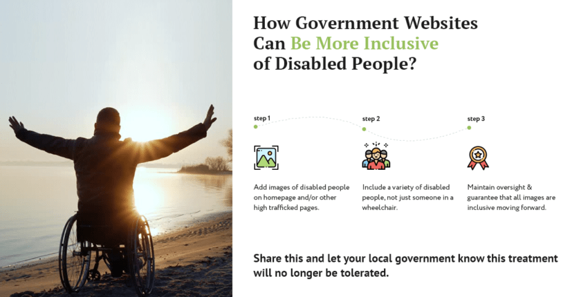 call to action for governments to do something about disabled representation