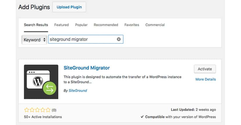 Le nouvel outil de migration SiteGround pour WordPress