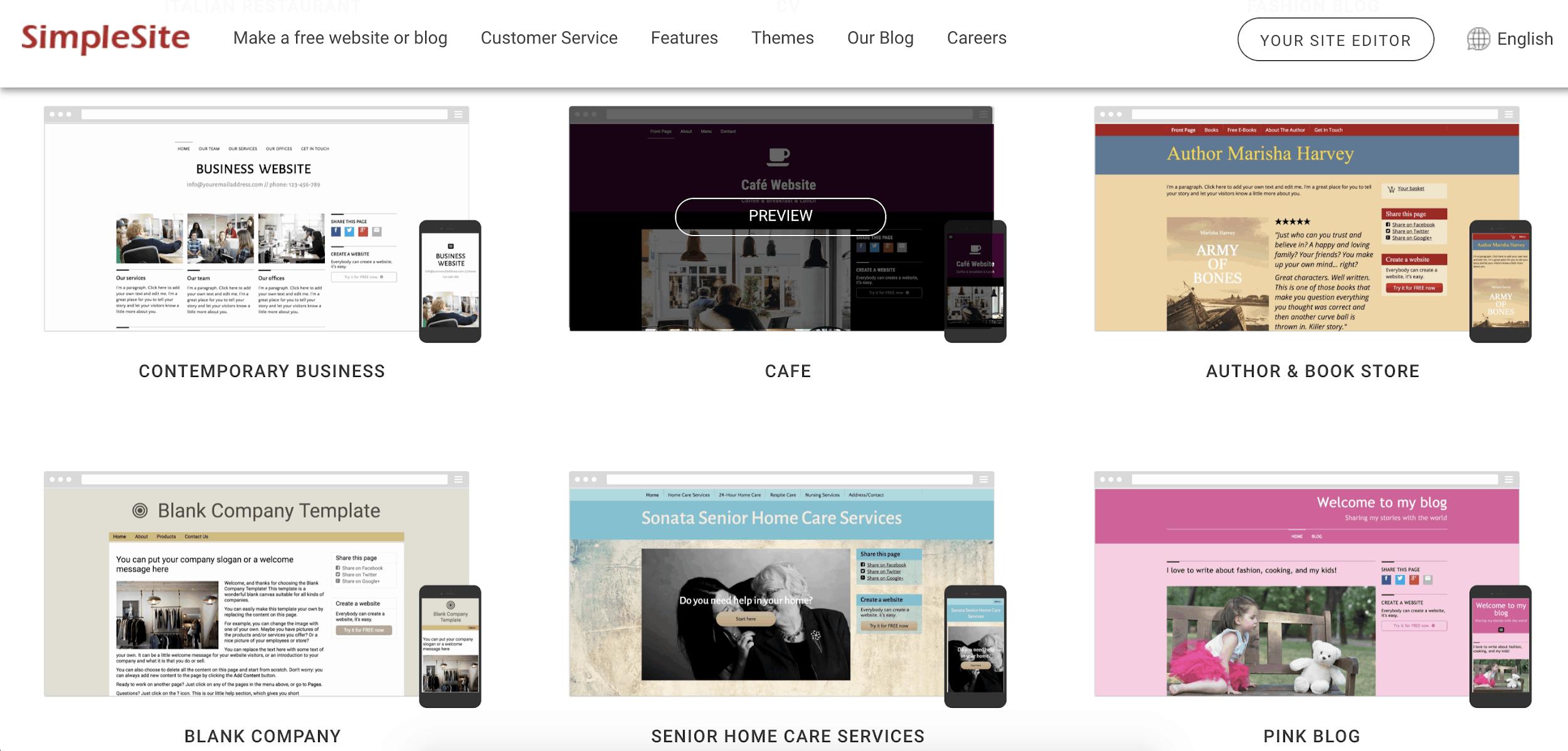 SimpleSite themes