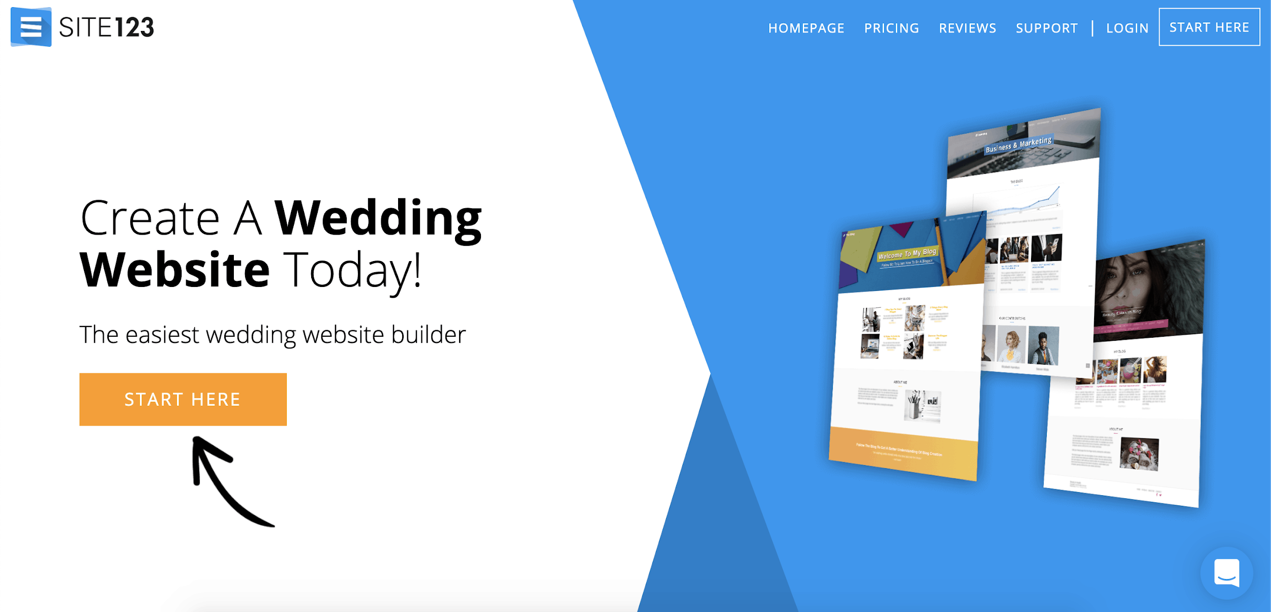 Site123 wedding website builder