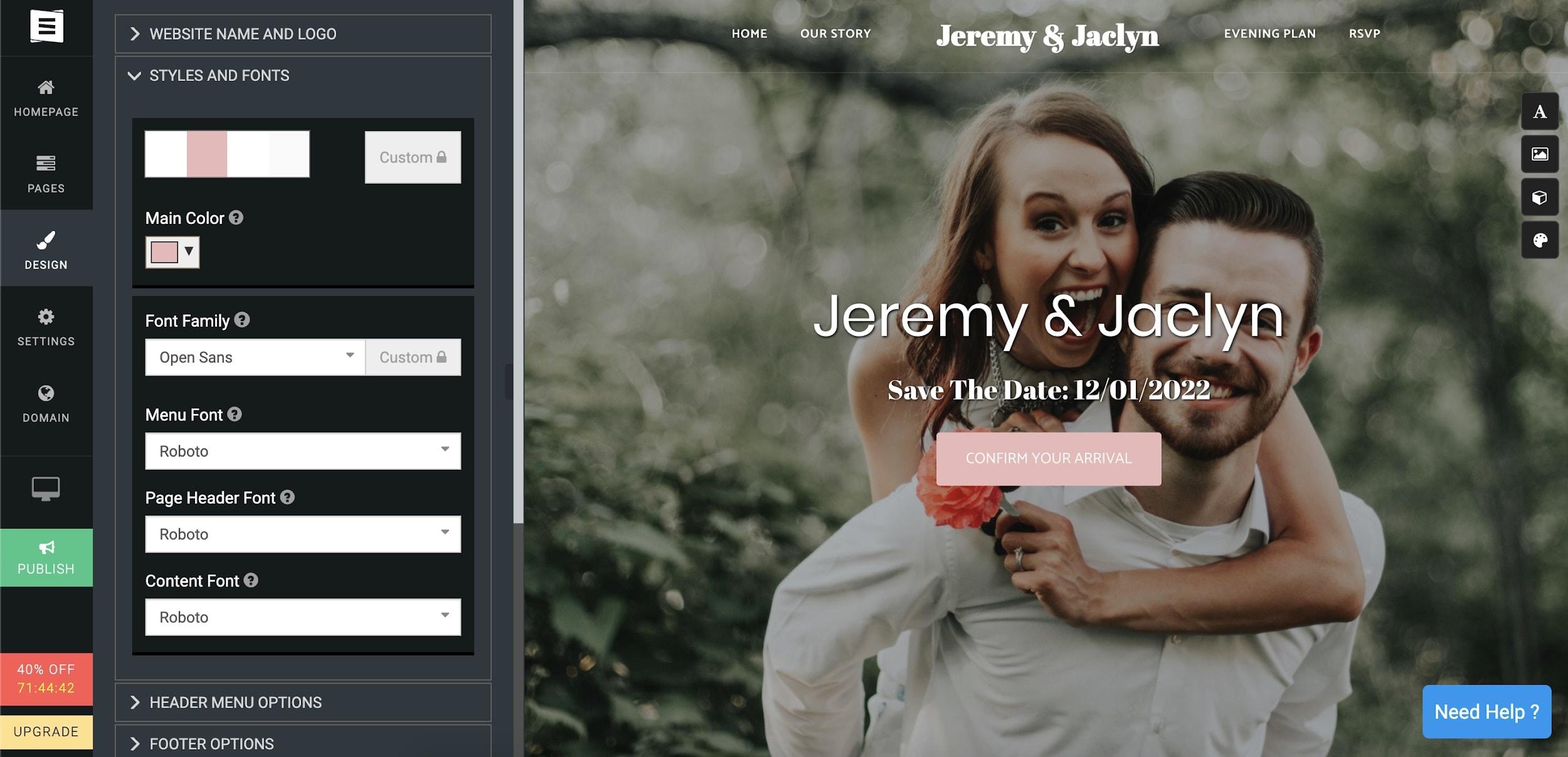Site123 editor Jeremy & Jaclyn template