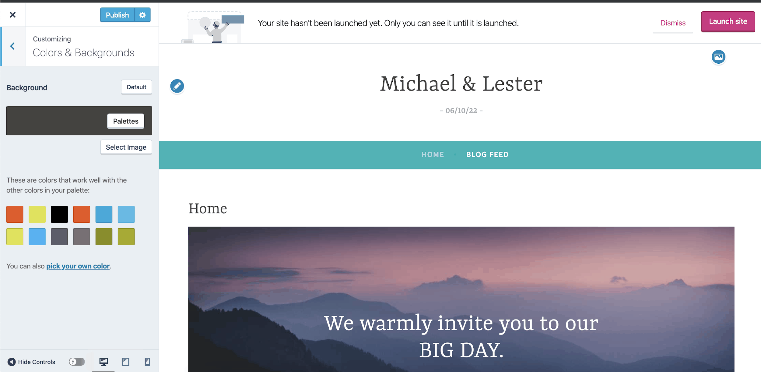 WordPress Michael & Lester wedding template