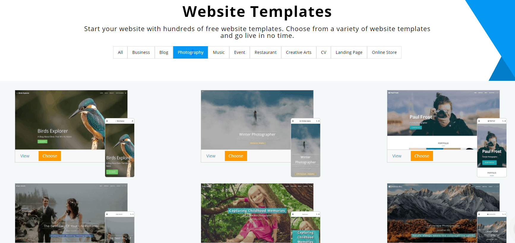 Site123 photography templates