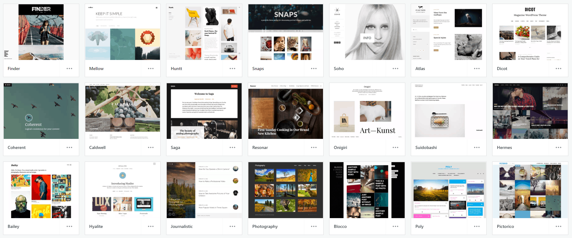 WordPress.com templates for photography