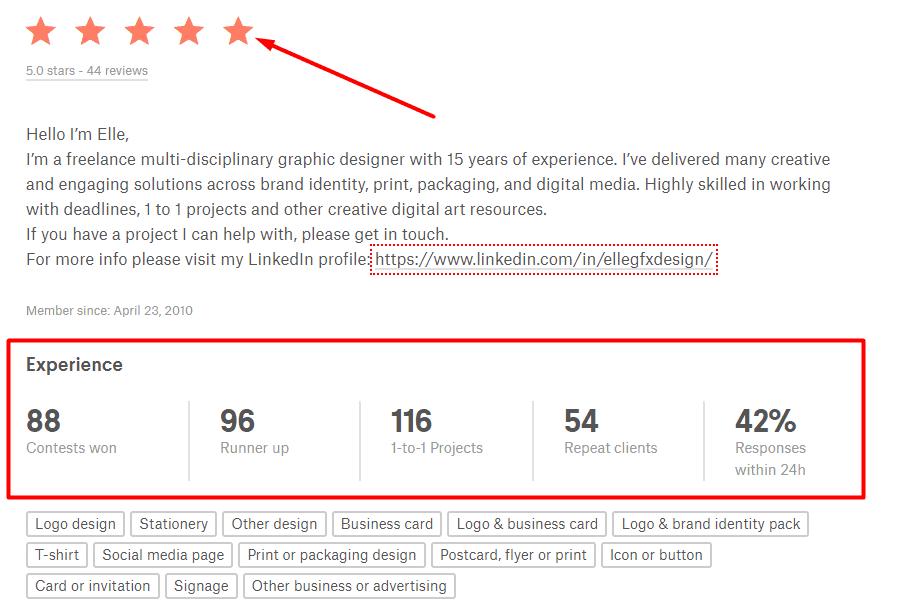 99designs - designer info