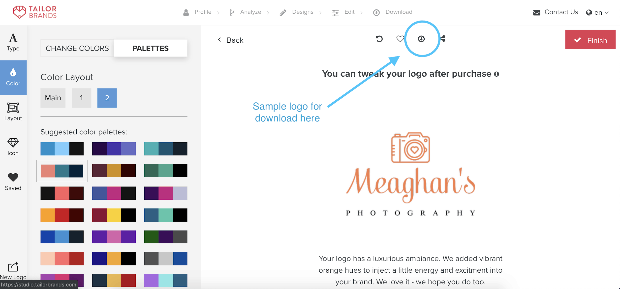 Tailor Brands screenshot - How to download a free sample logo
