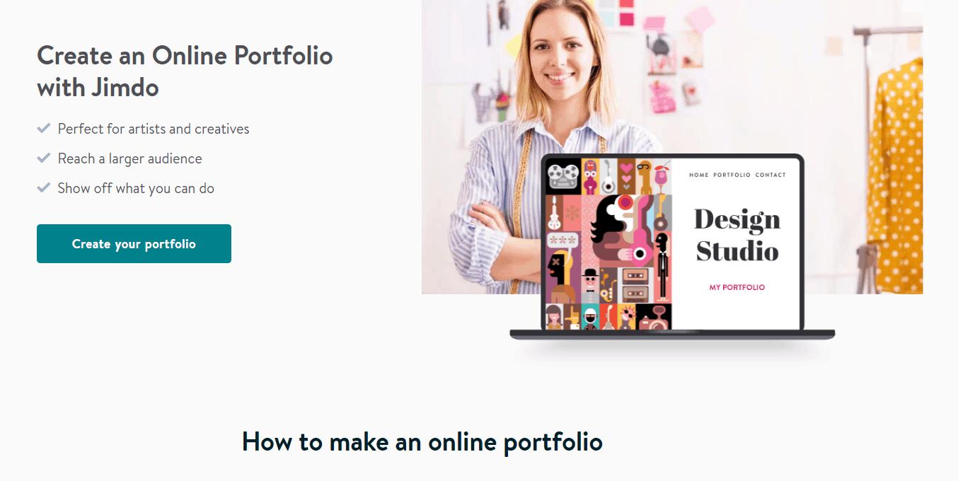 Jimdo online portfolio builder