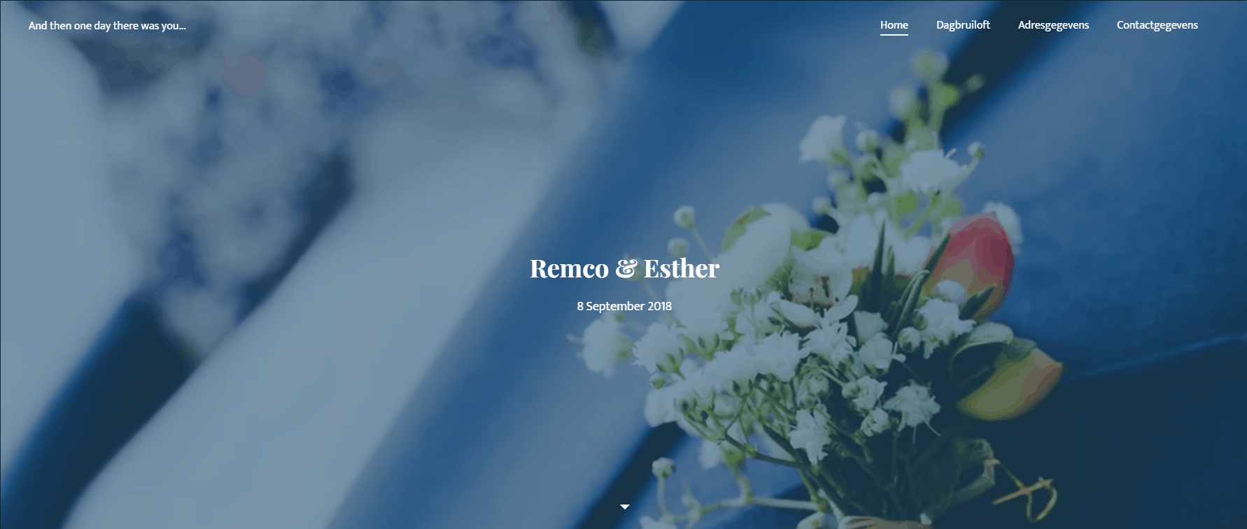 Jimdo wedding announcement example site