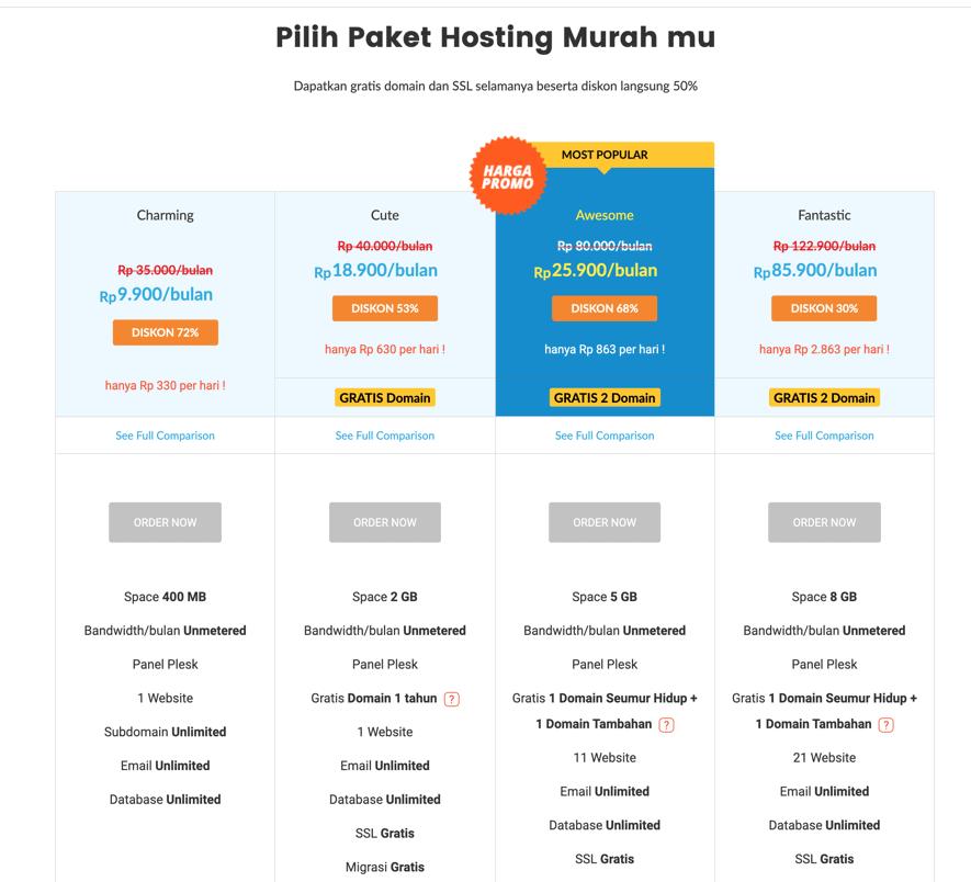 Harga hosting murah IDwebhost