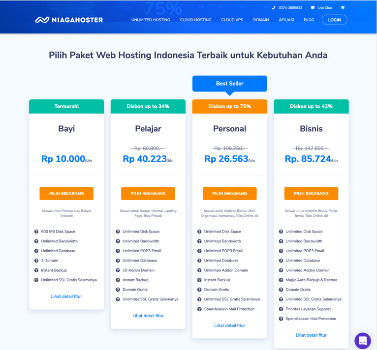 Harga web hosting Niagahoster