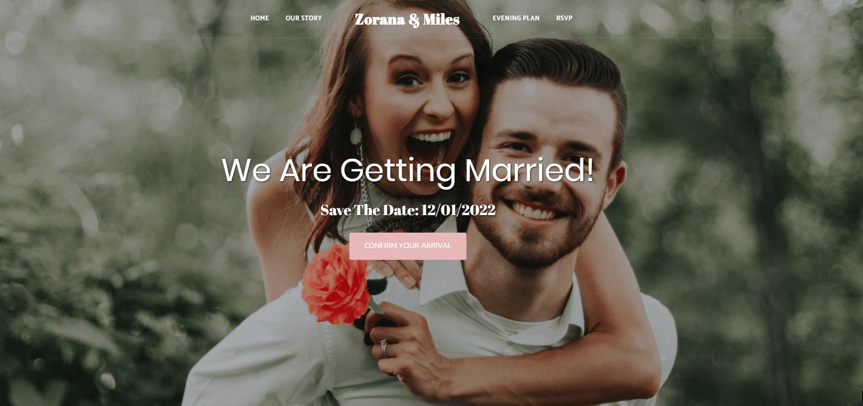 Site123 Zorana & Miles wedding template