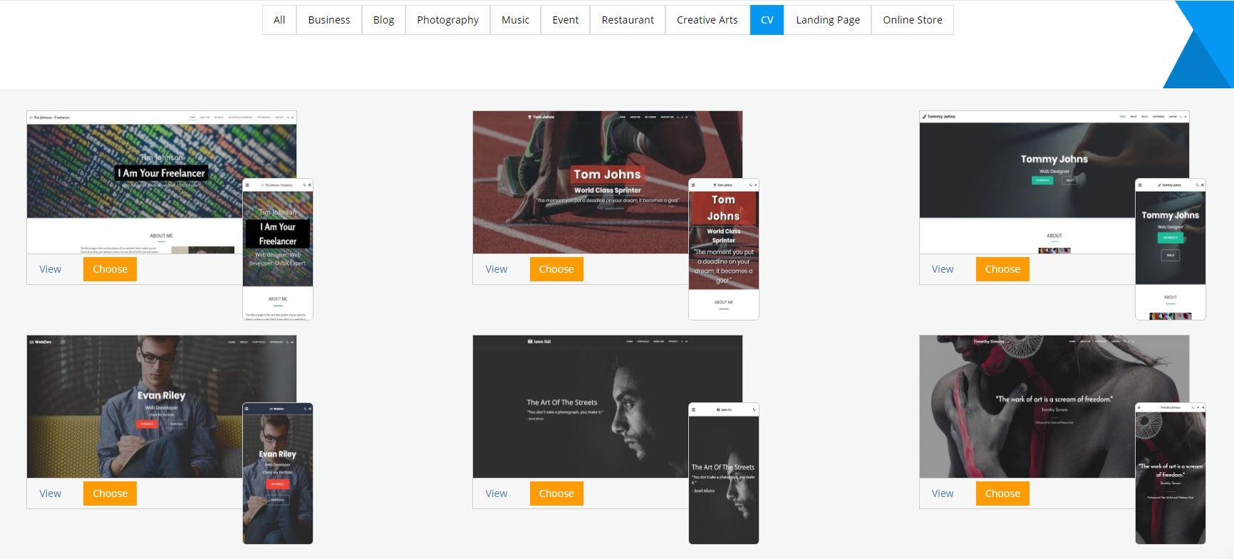 Site123 portfolio templates