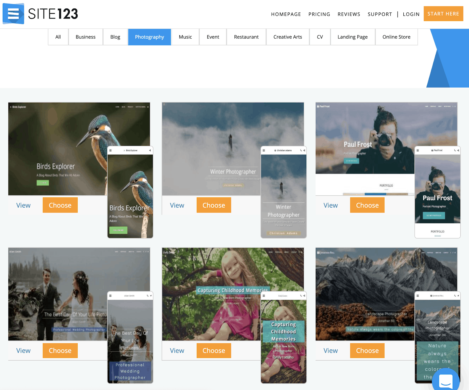 SITE123 templates for photography websites