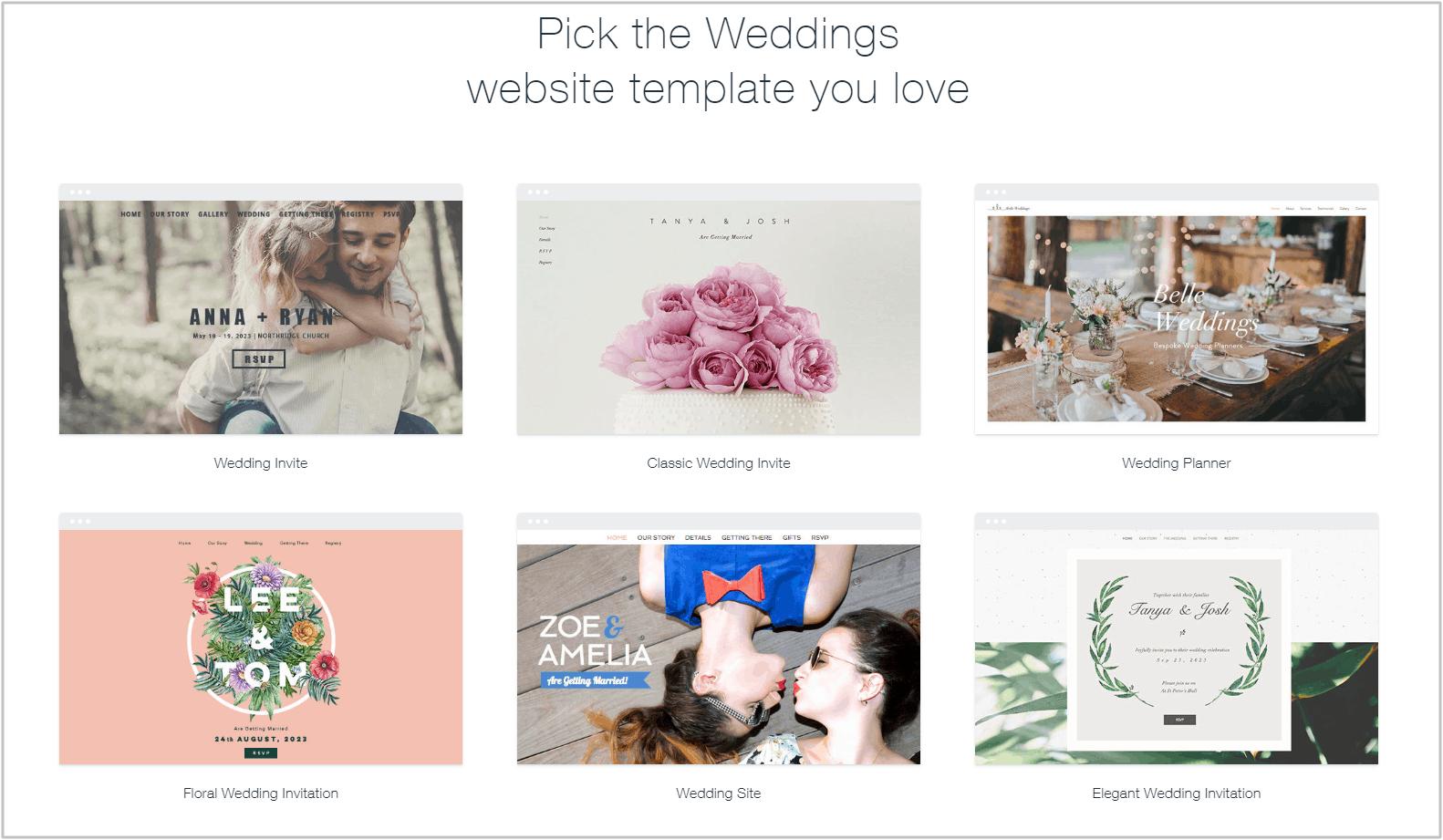 Wix wedding templates