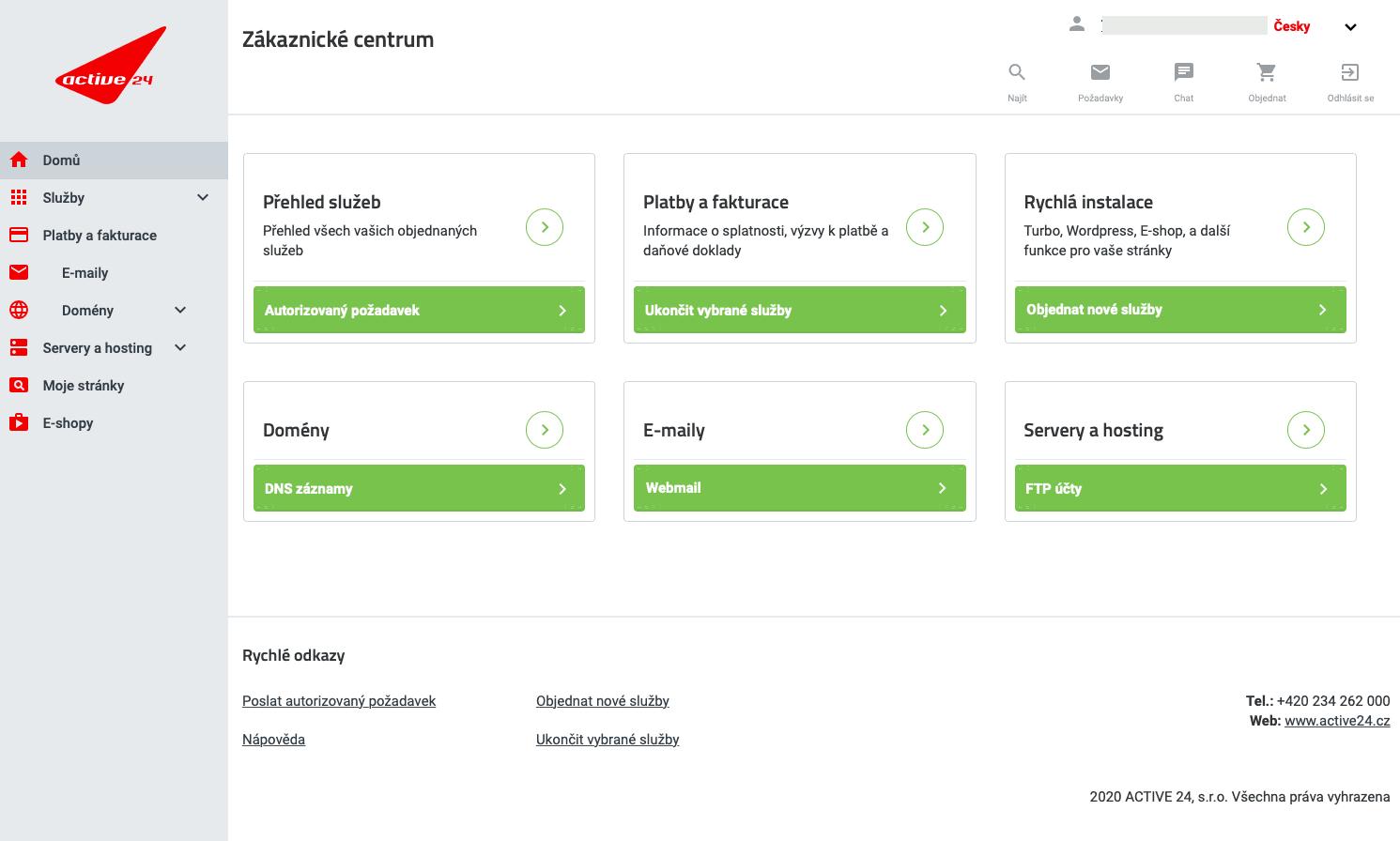 Náhled zákaznického rozhraní pro správu služeb Active24