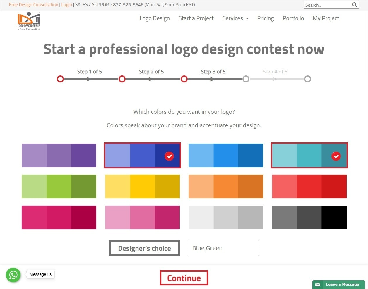 Logo Design Guru screenshot - color palettes