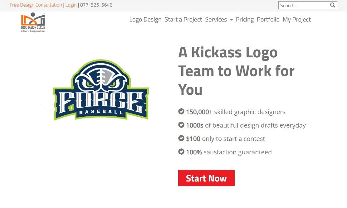 Logo Design Guru Review - homepage screenshot