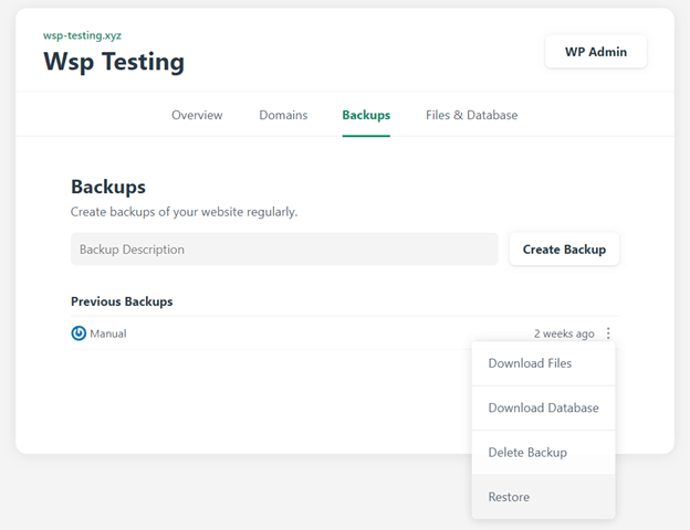 Testing backups for Namecheap website hosting