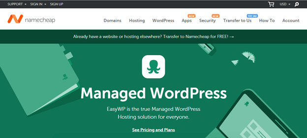 Namecheap's Managed WordPress hosting landing page