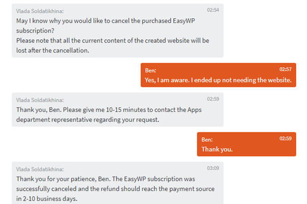 Conversation with customer support about cancellation of Namecheap site.
