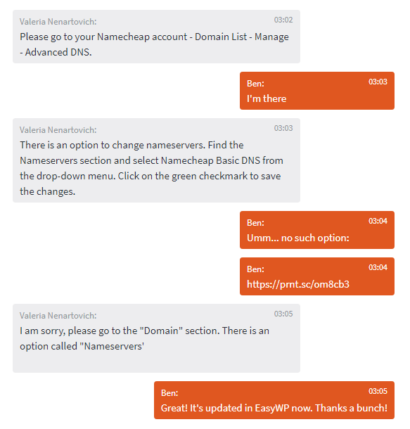 Conversation with customer support for Namecheap
