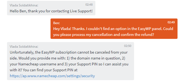 Conversation with live customer support for Namecheap