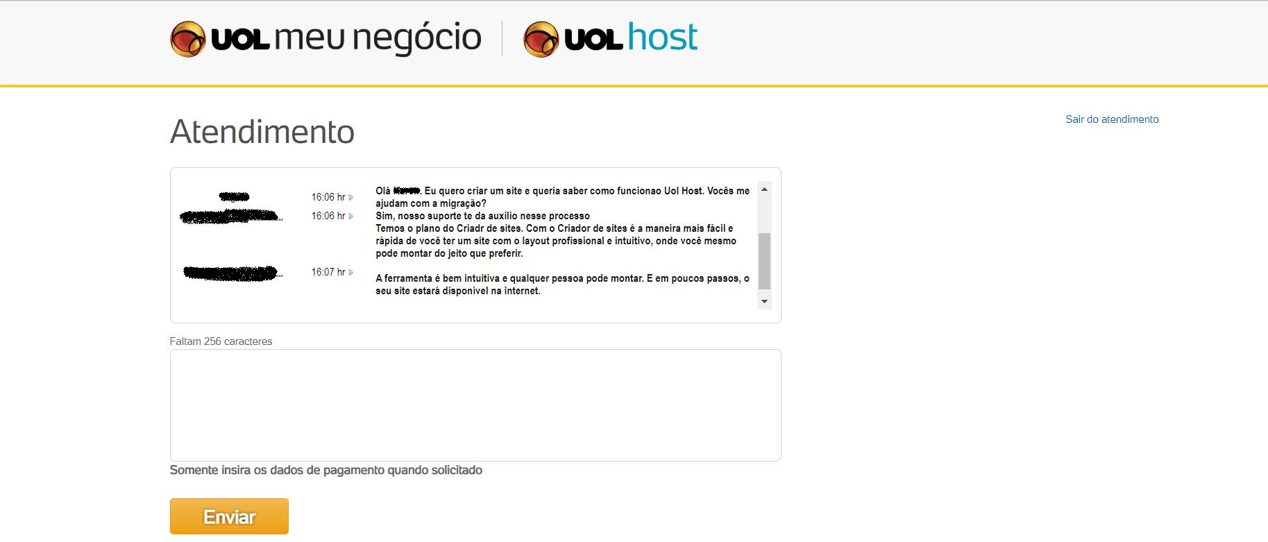 atendimento ao cliente chat UOL Host