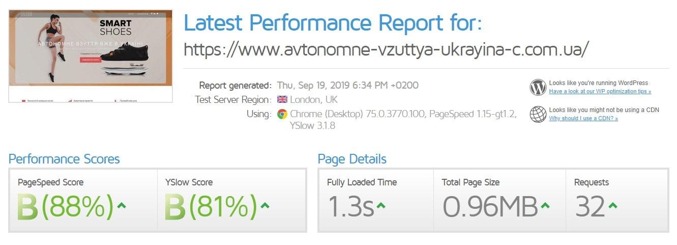 Швидіксть серверів хостингу Ukraine