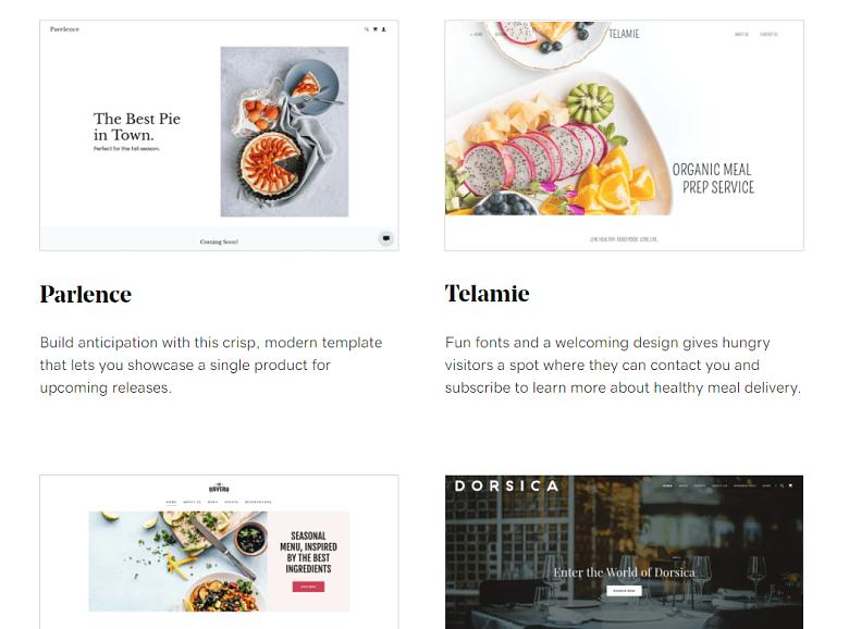 GoDaddy restaurant templates