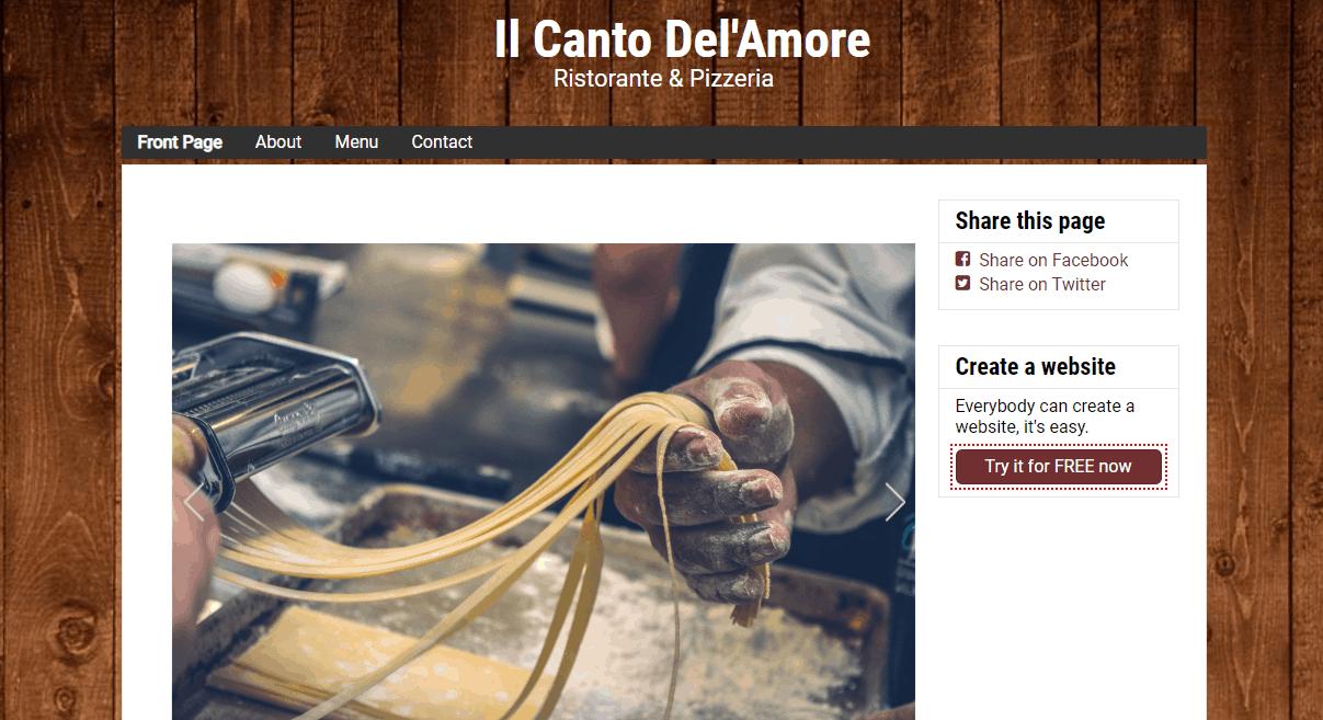 SimpleSite Italian Restaurant Example Site