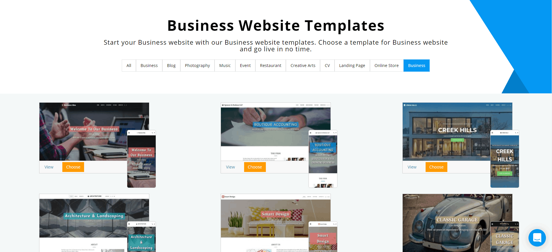 Site123 business templates